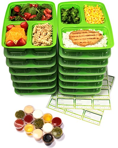 14 pack 3 compartment meal prep containers with lids 1oz leak proof sauce cups labels set. Black Bedroom Furniture Sets. Home Design Ideas
