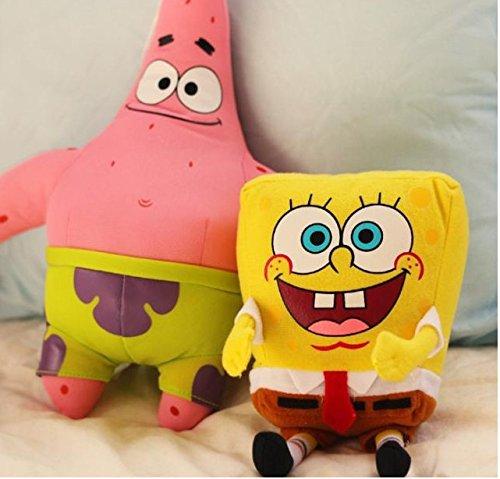 1 pair 35cm stuffed pink Patrick Star yellow spongebob plush toy for birthday gift idea children's day 35 cm by LITTLESTONE