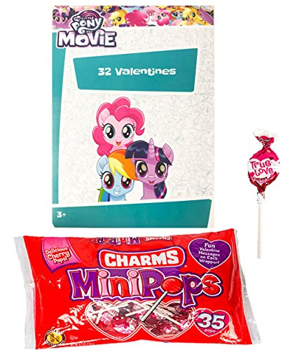 My Little Pony The Movie 32 Valentine Cards and Charms Lollipops MiniPops Classroom Exchange Bundle For Kids ()
