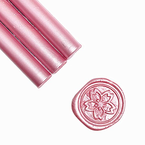 UNIQOOO Mailable Glue Gun Sealing Wax Sticks for Wax Seal Stamp - Metallic Rose Pink, Great for Wedding Invitations, Cards Envelopes, Snail Mails, Wine Packages, Gift Ideas, Pack of 8