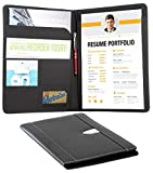 Resume Portfolio Padfolio Genuine Bonded Leather Portfolio with Replaceable A4 Letter Size Writing Pad, Document Holder, Card Holder and Pen Holder by eFolio, Black