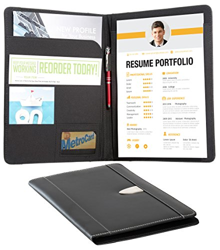 Resume Portfolio Padfolio Genuine Bonded Leather Portfolio with Replaceable A4 Letter Size Writing Pad, Document Holder, Card Holder and Pen Holder by eFolio, (Leather Open Padfolio)