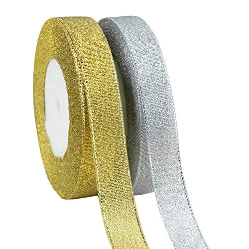 (VATIN 2 Rolls Glitter Metallic Gold Silver Ribbon 3/4