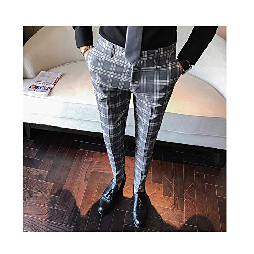 ZFADDS Men Dress Pant Plaid Business Casual Slim Fit Pantalon Homme Classic Suit Trousers Wedding Pants Gray 33