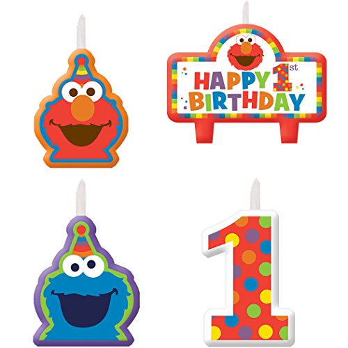 Cookie Monster And Elmo Costumes (Elmo 1st Birthday Candles 4 count Supplies Elmo Sesame Street Fun to be One!)