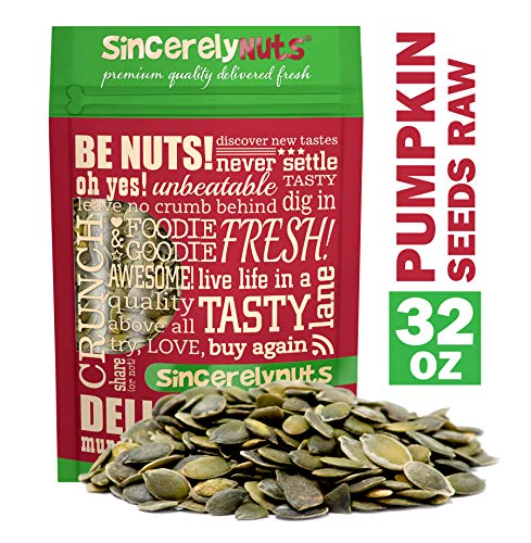 - Sincerely Nuts - Raw Shelled Pepitas Pumpkin Seeds (Unsalted) (2lb bag) | All Natural Snack Food for Eating or Cooking | Vegan, Kosher, Gluten Free Food | Protein & Antioxidants