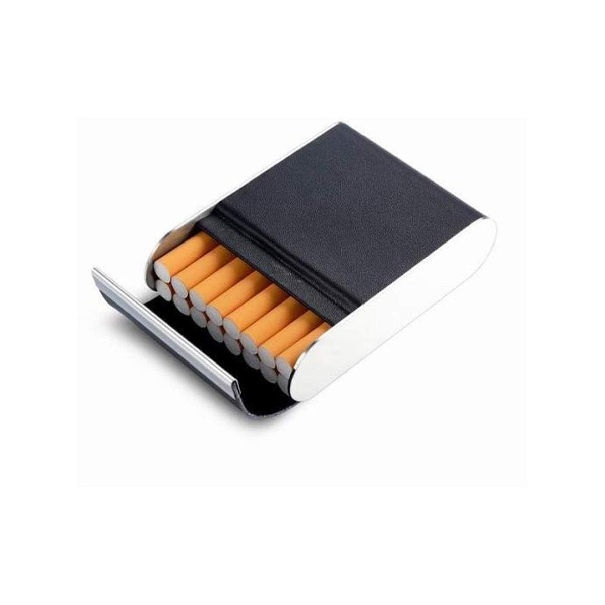 ZHONGYUE Leather Cigarette Case, Creative Cigarette Case, Metal Stainless Steel Cigarette Case, Unique Design, Sturdy and Lightweight. (Color : Black)