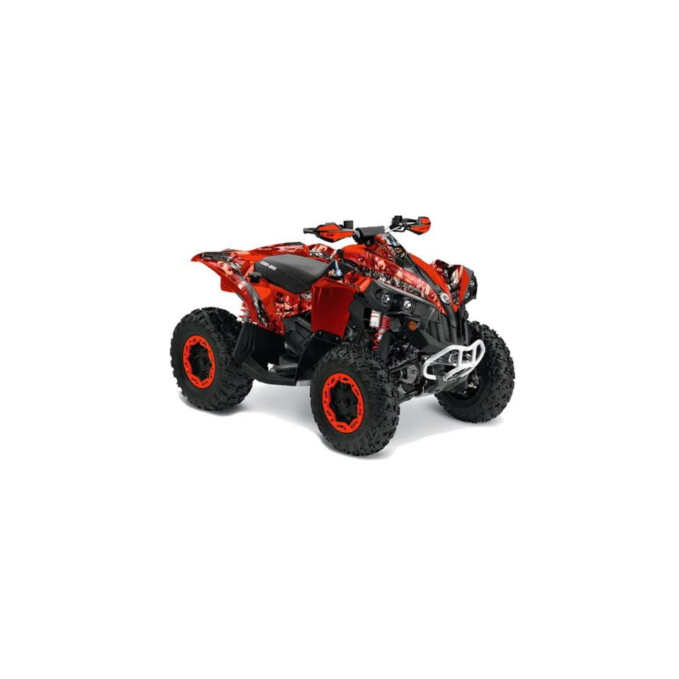 AMR Racing Can Am Renegade 800x 800r ATV Quad Graphic Kit   Mad Hatter Red & Silver