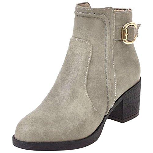 Comfort Ankle Booties 75 Grey Ladies Block Autumn COOLCEPT Winter High Heel pcnS5Unqw