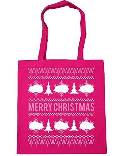 HippoWarehouse feliz de erizo de Navidad bolsa de la compra bolsa de playa 42cm x38cm, 10litros fucsia