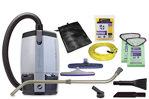 ProTeam Vacuum Backpack, ProVac FS 6 Commercial Backpack Vacuum Cleaner with HEPA Media Filtration and Small Business Kit, 6 Quart, Corded - Backpack Vacuum Commercial Hepa