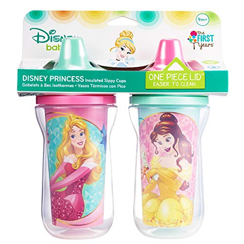 Disney Princess Insulated Sippy Cup Bundle of Two, Contains 1 Dark Hair Princess Sippy Cup & 1 Blond Hair Princess Sippy - Princess Insulated Disney Cup