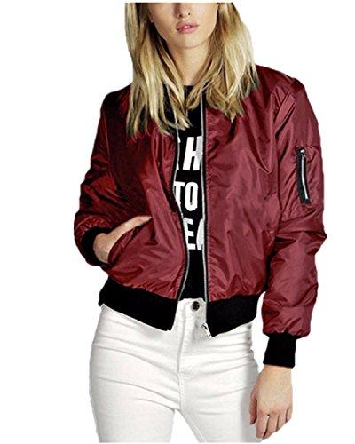 ZANZEA Ladies Celeb Collar Bomber Jacket Vintage Zip Up Biker Slim Coat Short Outerwear Red 6-8 (Bomber Vintage)