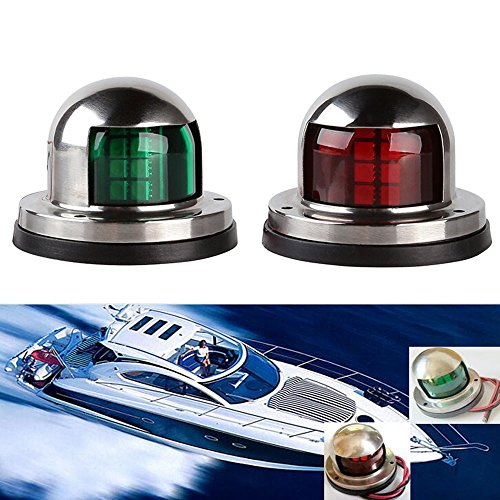 Gugou One Pair Marine Boat Yacht Light 12V Stainless Steel LED Bow Navigation Lights Pontoons Sailing Signal Lights by