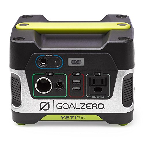 - Goal Zero Yeti 150 Portable Power Station, 150Wh Small Generator Alternative with 12V, AC and USB Outputs