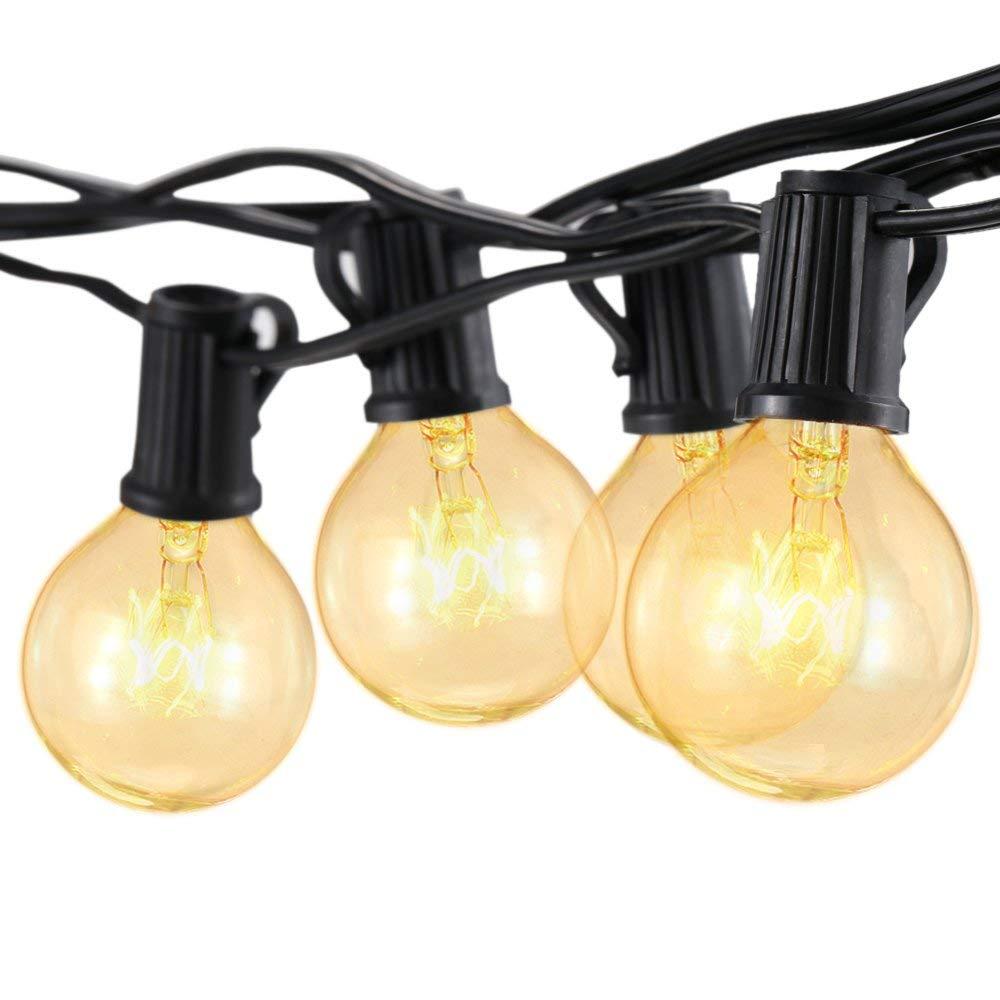 alimentate a Rete Bianche Calde per Patio da Giardino lampadine G40 25FT CCLAY Luci Esterne per festoni a Forma di Globo Luce per Esterni