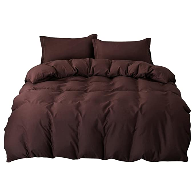 Zibuyu 4pcs Simple Solid Soft Bedding Set Quilt Sheet Pillowcases(Coffee)