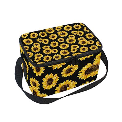 Hipster Golden Sunflowers Insulated Lunch Bag Cooler Tote Bag Lunchbox Meal Prep Handbag for Picnic School Women Men Kids
