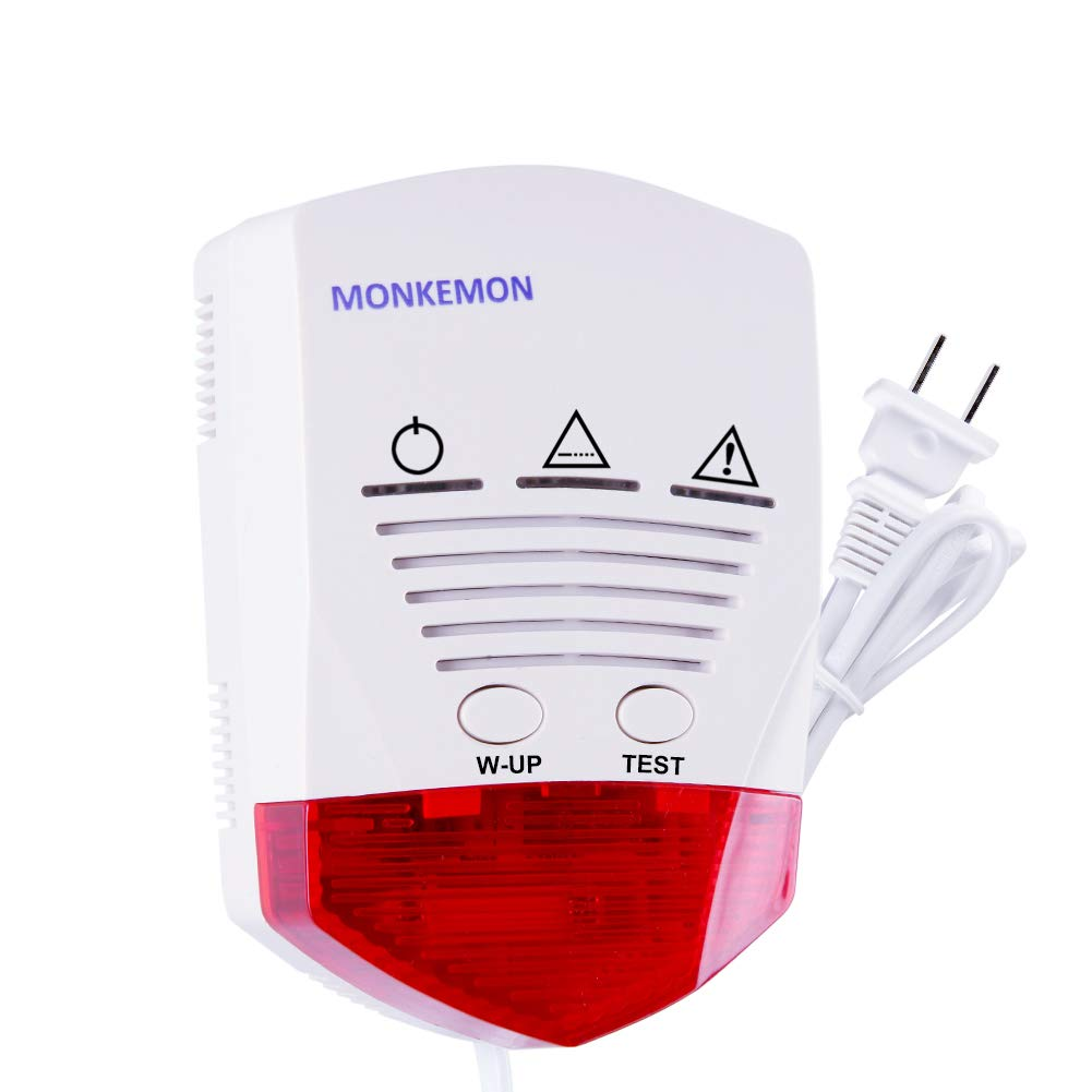 Natural Propane Gas Detector Home Gas Alarm Sensor Plug in Combustible Gas Leak Tester Monitor Combustible Gas Level Methane Butane LPG LNG Prevent Fire Explosions MK GT401