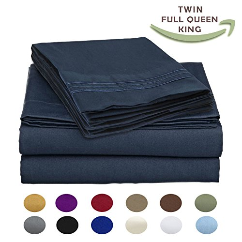 Italy Bed Linens (Luxury Egyptian Comfort Wrinkle Free 1800 Thread Count 6 Piece King Size Sheet Set, BLUE Color, 2 Bonus Pillowcases FREE!)