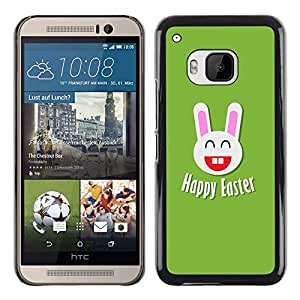 TopCaseStore / la caja del caucho duro de la cubierta de protección de la piel - Easter Happiness White Rabbit Big Ears - HTC One M9