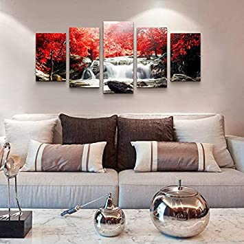 YOUKUART Wall Art for Bedroom Red Woods Waterfall Artwork Canvas Prints  Paintings for Wall Decor for Living Room Bathroom Bedroom and Bedroom Decor  ...