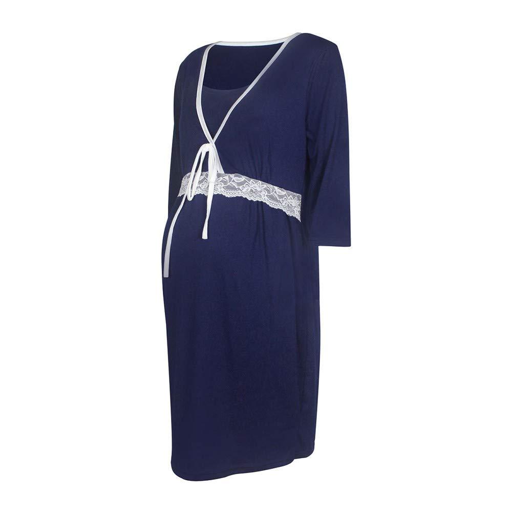 MIRRAY Maternity Loungewear Womens Sleepwear Pregnancy Half Sleeve Collect The Waist Pajamas Ladies Nightdress Deep V Neck Solid Nightwear