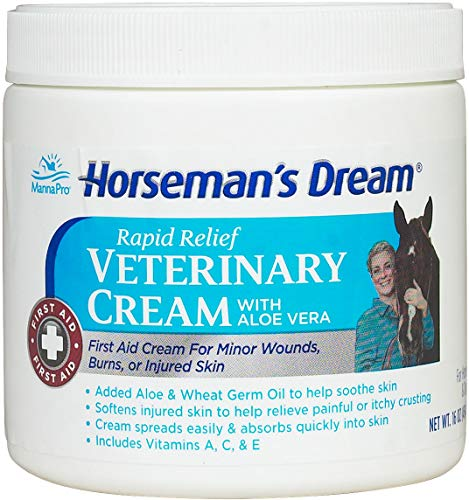 (Manna Pro Horseman's 16 oz Rapid Relief Aloe Vera First Aid Skin Veterinary Cream)