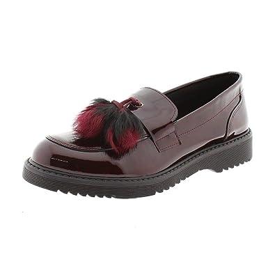 Mocasines Mujer Charol Burdeos Pelo Clarys 5943: Amazon.es: Zapatos y complementos