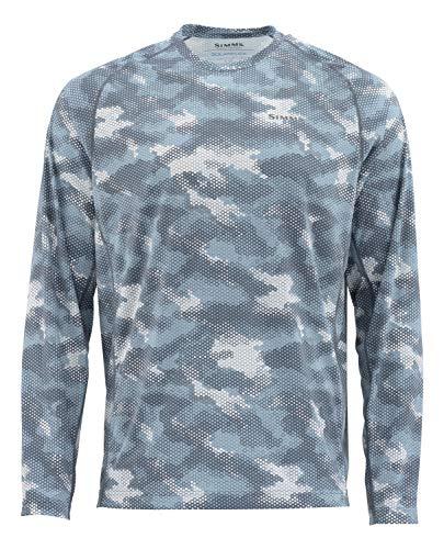 Simms Men's Solarflex, UPF 50 UV Sun Protection, Outdoor Long Sleeve Performance Fishing Shirt, Hex Camo Storm, Large