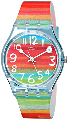 (Swatch Women's GS124 Quartz Rainbow Dial Plastic Watch)