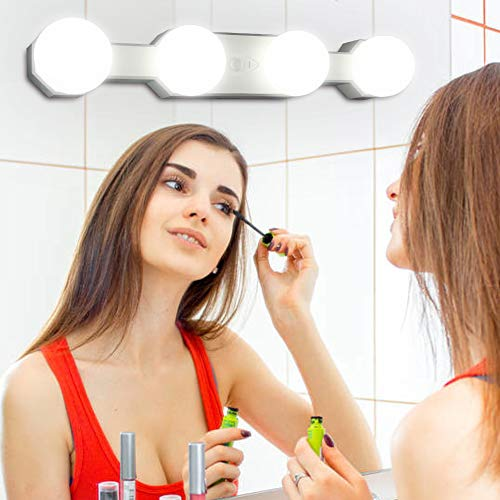 Makeup Vanity Mirror Light Portable Rechargeable Dimmable Led Hollywood Mirror Lights with -