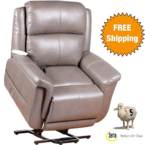 Serta Perfect Lift Chair: This Wall Hugger Recliner-Plush Comfort Recliner with Gel-Infused Foam Hand Control with 2 Large LED Buttons and USB Charging Port (Ash 870)