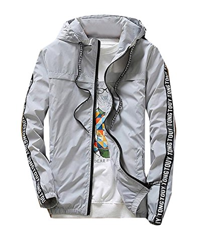 Generic Mens Casual Slim Letter Stitching Sun Protection Jacket XL Grey 1