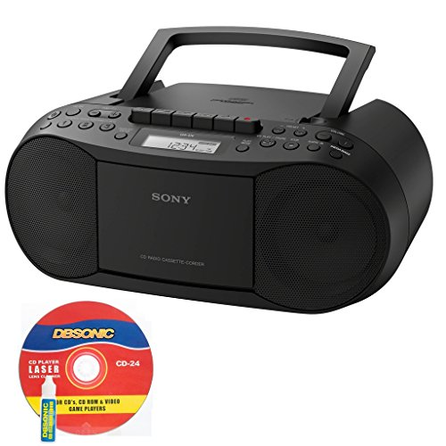 Sony CD/Cassette Boombox, Digital Tuner AM/FM Radio, Headphone Output & 3.5mm Audio Auxiliary Bundle with AC Power Cord and CD Lens Cleaner (Boom Box Cassette Player)