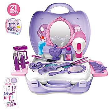21pcs Pretend Makeup Kit For Girls Cosmetic Pretend Play Dress-up Beauty Salon Toy Set With Mirror Best Gift For Kids 0