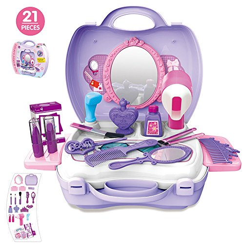 21Pcs Pretend Makeup Kit for Girls Cosmetic Pretend Play Dress-up Beauty Salon Toy Set with Mirror Best Gift for Kids (Princess Hair Kit)