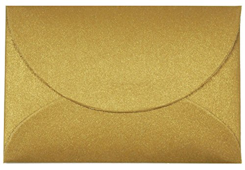 Iridescent Gift Card Envelopes (50 Pack) - Elegant Mini Envelopes Perfect For Wedding Placeholders, Name Cards, Thank You Notes, Flower Arrangements, and Gift Tags (Aged Gold) - Golden Iridescence 3 Light