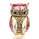 YUFENG Owl Jewelry Trinket Box w/Hinged Metal Enameled Animal Figurine Collectable Wedding Jewelry Ring Holder Organizer