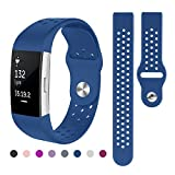 Kutop For Fitbit Charge 2 Band, Soft Silicone Replacement Wristband Sports Fitness Accessory Bands for Fitbit Charge 2 HR Strap for Girl Boy, Small Large