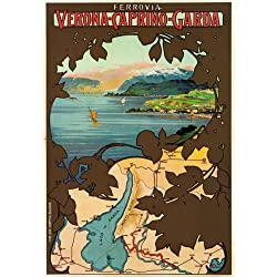 "TX101 Vintage Verona Caprino Garda Italy Italian Travel Poster Re-Print - A3 (432 x 305mm) 16.5"" x 11.7"""