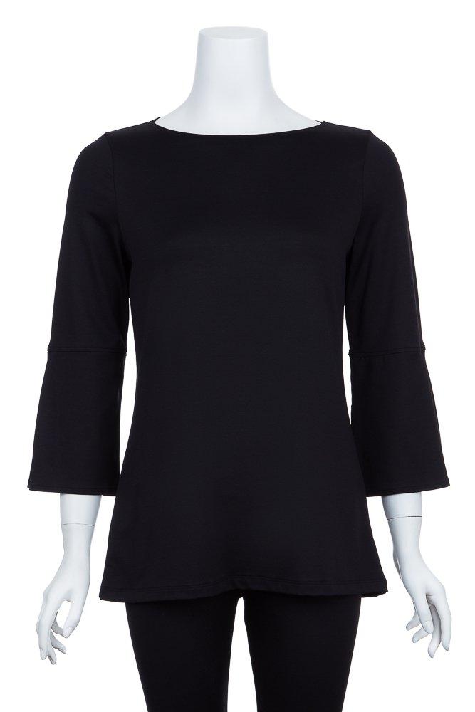 A'Nue Miami Women's Bell Sleeve, ¾ Sleeve Shirt, Medium, Black