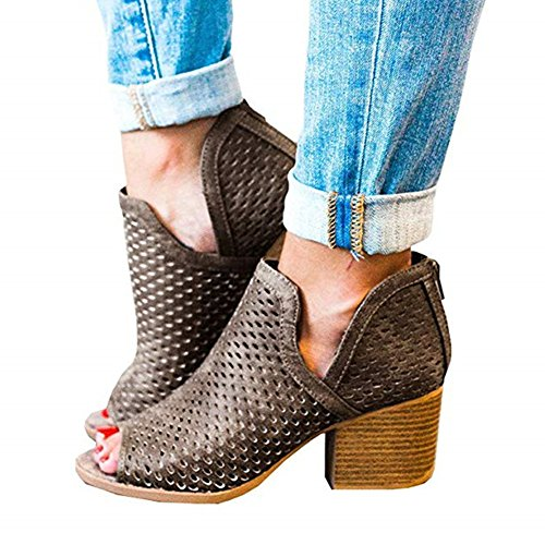 Huiyuzhi Womens Peep Toe Cut Out Ankle Bootie Perforated Low Stacked Sandal,8.5 B(M) US,Brown