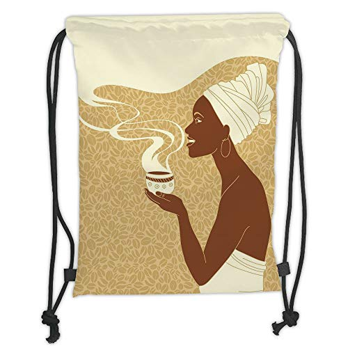 - New Fashion Gym Drawstring Backpacks Bags,African Woman,Smiling Happy Afro Lady with Hot Coffee Cup Seeds Cocoa Vintage,Brown Light Brown Cream Soft Satin,Adjustable String Closur