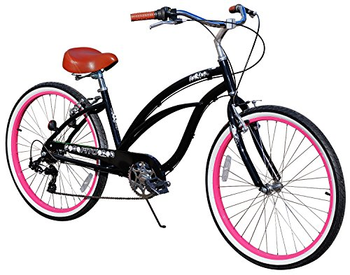 "Fito Women's Marina 2.0 Aluminum Alloy 7 Speed Beach Cruiser Bike, Black, 15.5""/One Size"