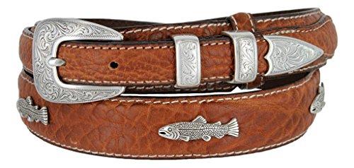Western Silver Engraved Fish Ranger Genuine Leather Bison Belt for Men (Tan, ()