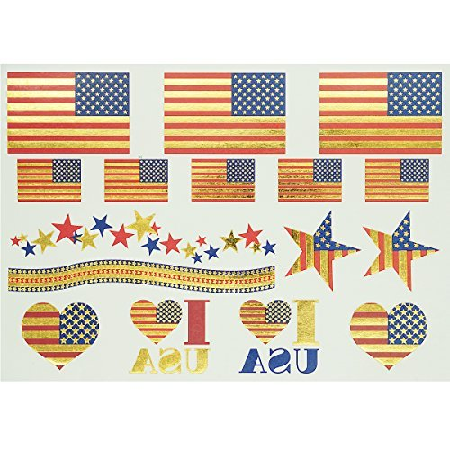 GIFT!!! Tastto American Flag Metallic Temporary Tattoos Sticker with GIFT-1 Sheet of 16 Tattoos
