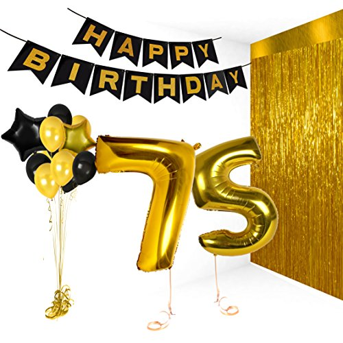 Happy 75th Birthday Cake Topper Bday Party Decorations For Him Or Her Gold Balloons Banner Supplies Backdrop Photo Booth Decor New Years Christmas