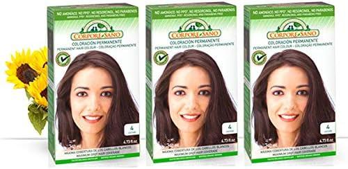 Corpore Sano Pack x3 Unidades Tinte Castaño 4 Permanente 140ml - Tinte de coloración sin amoníaco, resorcinol ni parabenos. Los champús naturales de ...