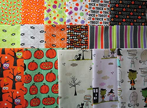 17 Fat Quarters Riley Blake Halloween Fabric: Halloween Parade, Ghouls & Goodies, Too Cute to Spook & Witch Hazel 100% Cotton Quilt Fabric